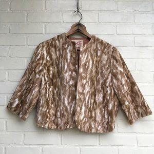 Vintage Animal Print Short Coat Shrug Faux Fur